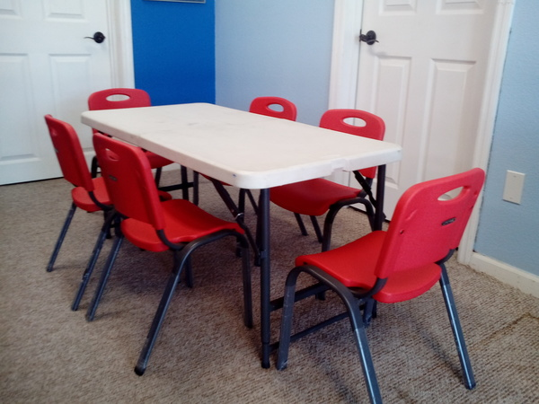 Kid's Table 6 Red Chairs